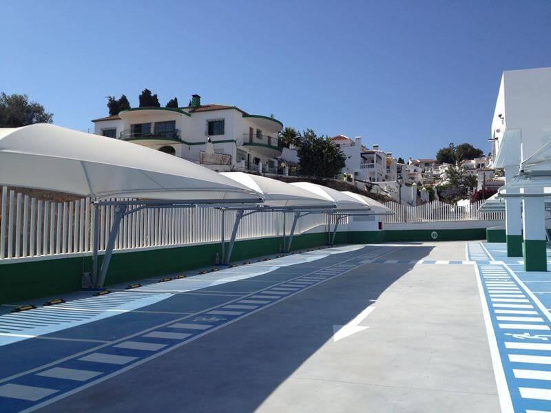 marquesinas de parking con cubiertas textiles en nerja