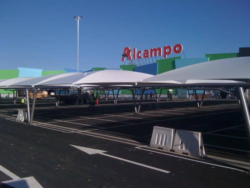 marquesinas de parking textiles para centro comercial en toledo